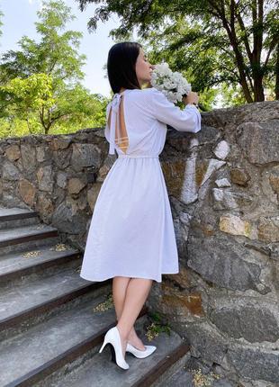 Платье из натуральной вискозы белое в горошек