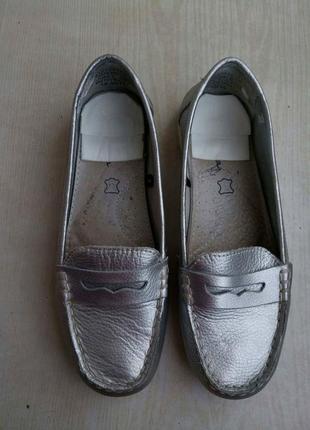 Мокасины туфли кожанные серебристые