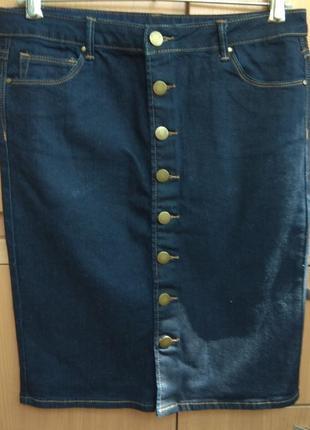 Деним джинсовая котоновая синяя на пуговицах стрейч юбка