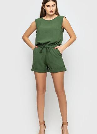 Базовый летний зеленый комбинезон шорты с открытой спинкой