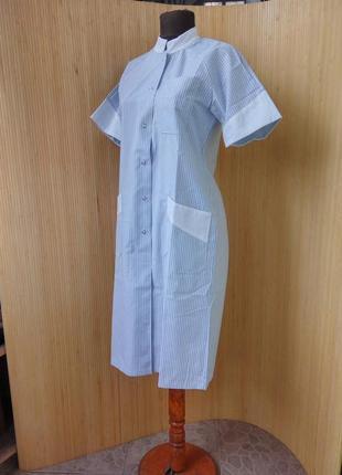 Платье халат в полоску / униформа / спецодежда