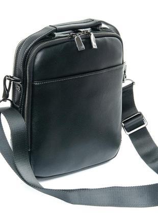 Стильная мужская кожаная сумка-планшет на плечо