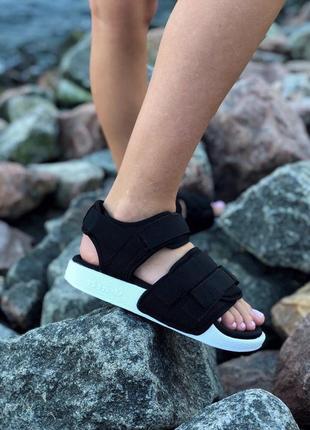 Летние босоножки сандалии чёрные на платформе adidas