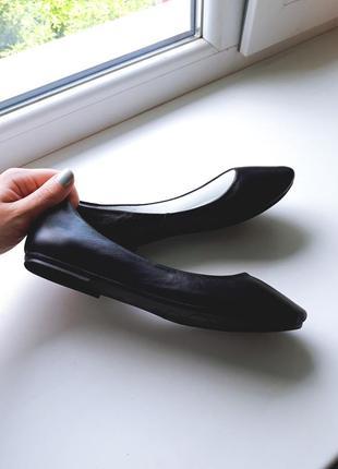 Чёрные кожаные классические балетки mida 21208(1)