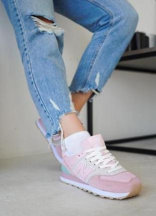 Женские замшевые кроссовки new balance 574 pink ◈ кеды ◈ розового цвета 😍