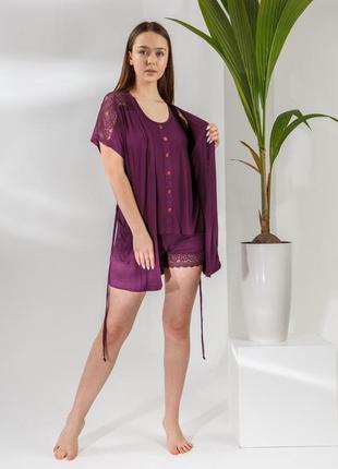 Акция пижама піжама комплект тройка халат шорты шорти майка турция туреччина