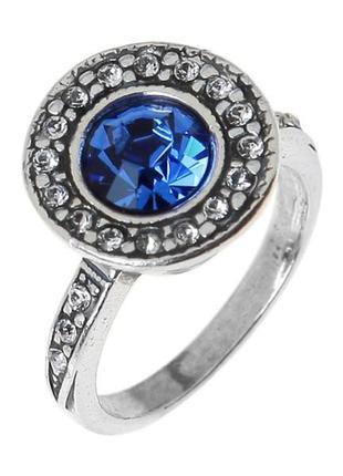 Кольцо лоо 19 размер с кристаллами swarovski покрытое серебром /глубокое серебрение jenavi