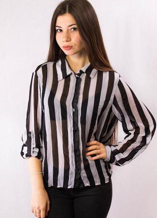Блузка женская в полоску guess прозрачная (m)2 фото