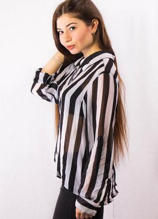 Блузка женская в полоску guess прозрачная (m)4 фото