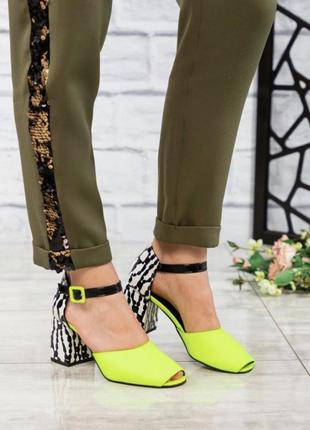 36-40 рр туфли открытые кожаные на каблуке яркие цвет лайм стильные