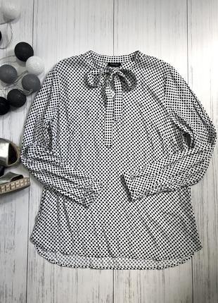 Стильная белая блуза в чёрный горошек 100%вискоза