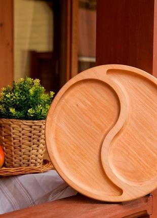 Доска для подачи блюд на 2 секции, менажница из дерева