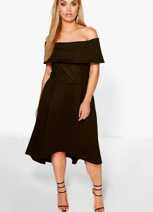 Двухслойное платье миди батал большьго размера открытые плечи