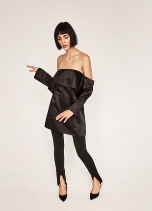 Zara woman премиум коллекция трендовая атласная туника по плечам с оборкой