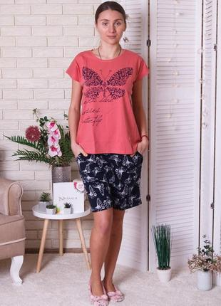 Пижама трикотажная женская с шортами, батал