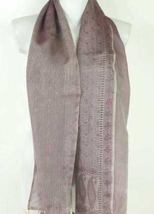 Легкий сиреневый шарфик с бахромой