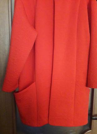 Оранжево-коралловый фактурный  кардиган