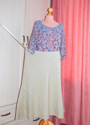 Льняная  летняя юбка с вышивкой юбка лен льняная длинная миди батал коттон