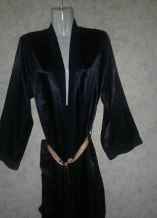 Атласный халат пеньюар черный