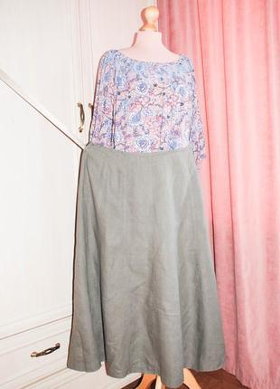 Стильная летняя льняная летняя юбка хаки лен льняная длинная миди батал коттон