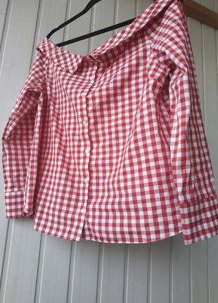 Хлопковая рубашка в клетку со спущенными плечами красная atmosphere