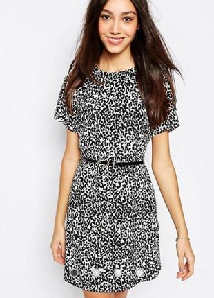 Леопардовое лёгкое платье под поясок