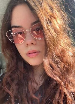 Качественные розовые очки солнцезащитные имиджевые бабочки кошечки сонцезахисні окуляри