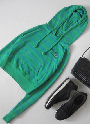 Укороченный худи в полоску 100 % хлопок толстовка кофта свитшот с капюшоном