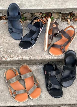 Кожаные мужские сандалии шлепанцы на липучке