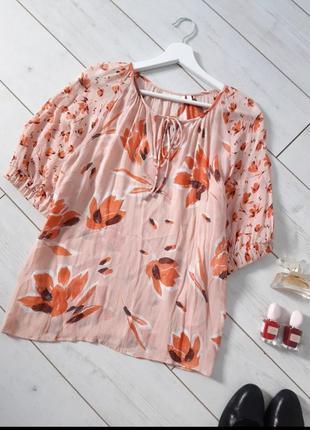 Чудесная летняя блуза в теплых персиковых тонах_вискоза..# 136