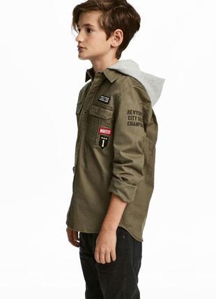 Стильная рубашка милитари на мальчика,рост до 152 см,хлопок.