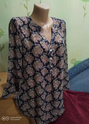 Шикарная воздушная шифоновая блуза-туника- s-m- lola&liza-идеал