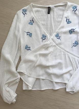Летняя легкая блуза с воланом на талии и длинным рукавом h&m