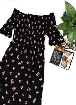 Миди платье в цветочный принт на плечи dorothy perkins