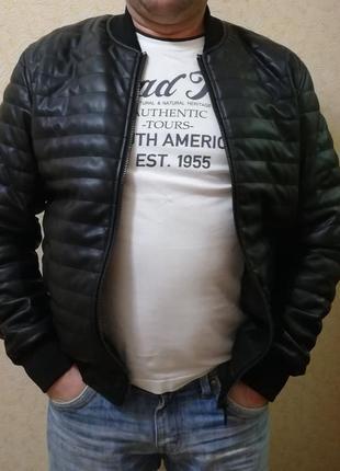 Куртка бомпер екошкіра демісезонна