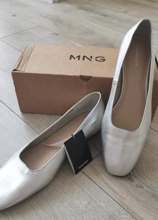 Балетки туфли серебристые манго 41р. натуральная кожа