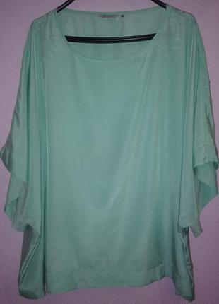 Бирюзовая блуза,разлетайка большого размера.