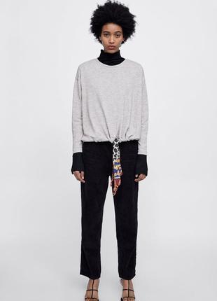 Уютный свитер джемпер пуловер с атласной лентой шнуром от zara