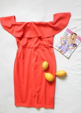 Коралловое платье с баской от new look, размер xl