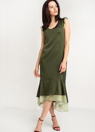 Платье из шелка с рукавами-крылышками и асимм воланом из шифона ( в 3-х расцветках)