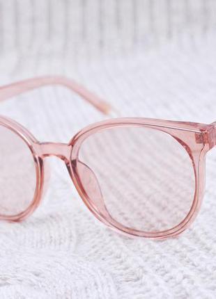 Бежевые имиджевые очки без диоптрий , очки с прозрачной линзой ,тишейды, прозрачная оправа