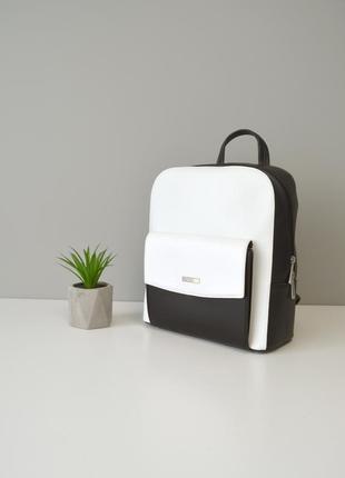 Рюкзак женский черный - белый, женский рюкзак на лето
