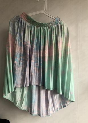 Красивая яркая летняя юбка плиссе принт цветы topshop xs s