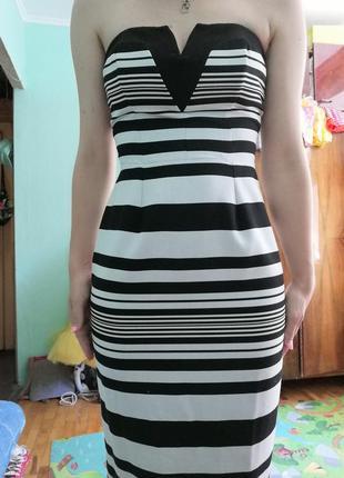 Полосатое платье без бретель