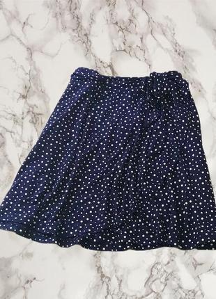 Новая синяя юбка в горох с запахом большого размера next