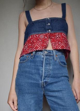 Трендовый винтажный джинсовый топ бохо
