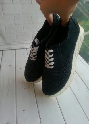 Кеди оксфорди туфли ,натуральний замш