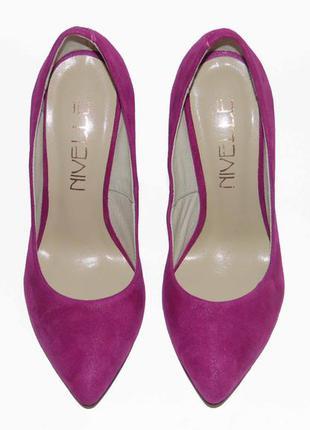 Кожаные туфли-лодочки, цвет фуксия, р.36,39,40, тм nivelle