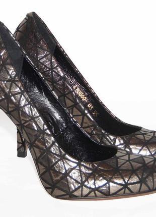 Кожаные туфли-лодочки, цвет металик, тм nivelle