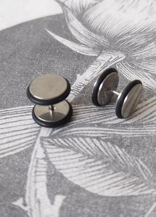 10 мм серебристые лже плаги обманки унисекс женские мужские сережки серьги гвоздики